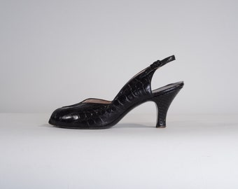 Vintage 1950s Black Alligator Shoes - Peep Toe Palter DeLiso - Fall Fashions Size 8.5 N 7