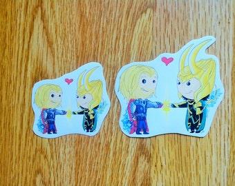 Thor and Loki Brotherly Pound Sticker.