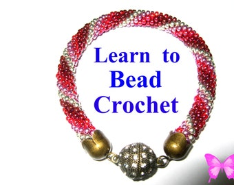 Beginners Learn Bead Crochet Tutorial Bracelet Pattern pdf Download Easy Start Instructions for Beginners
