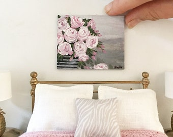Miniature painting - pink roses in striped vase  - Dollhouse original art - Diorama - 1:12 scale
