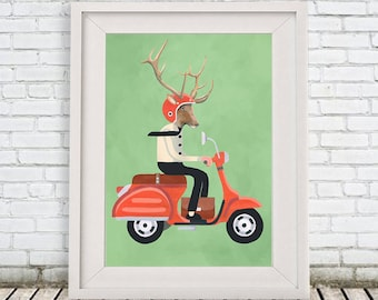Retro Deer Print, Moped Deer, Antler, Stag, Deer Art, Deer Art Print, Deer Artwork, Wall Decor, Wall Art, Deer Wall Hanging, Deer on scooter
