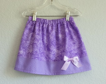 Girls Purple Skirt - Lavender Skirt with Dragonflies and Polka Dots - Girls Purple and Lavender Skirt - Size 12m, 18m, 2t, 3t, 4t, 5, 6 or 7