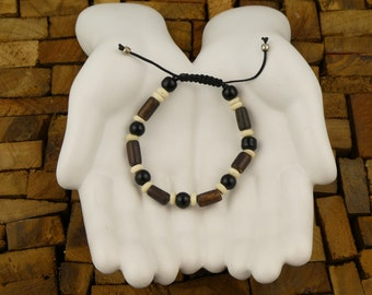Tibetan bracelet - Glass beads, bone and wood