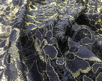 """58"""" Width- Navy Blue and Gold Alencon Lace Fabric"""