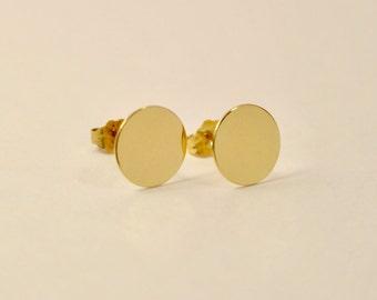 14k Circle Earrings, 14K Dot Earrings, 14k Gold Dot Earrings, 14k Stud Earrings, 14k Gold Stud Earrings, 14k Gold Circle Studs, 14k Studs