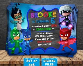 PJ Masks Birthday Invitation PJ Masks Invitation PJ Masks - Pj masks invitation template free