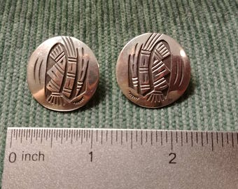 Native American Sterling Silver Etched Earrings