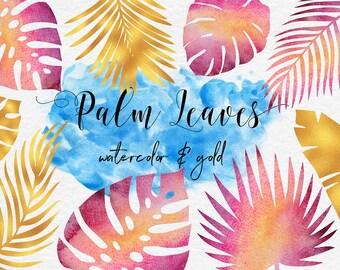 Aquarelle et Palme d'or des feuilles feuille aquarelle, aquarelle Clipart, ClipArt palmiers tropicaux, PNG 11 éléments séparés, ClipArt, BUY5FOR8