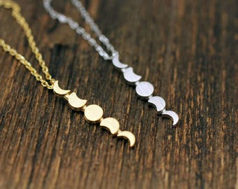 Moon Phases Necklace ,Crescent Moon Necklace, Celestial Jewelry, Full moon necklace