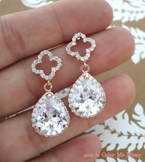 Rose Gold Clover Luxe Cubic Zirconia Teardrop Earring - four leaf clover, earrings, bridal gifts, drop, dangle, Christmas gifts ideas