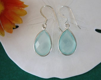 Seafoam Green Teardrop Earrings Silver Small, Chalcedony, Bright Earrings, Small, Tear Drop Gemstone, Dangle Earrings