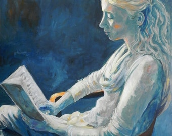 Woman Painting, Figure Painting, Portrait Painting, Woman Portrait, Tranquility, Bedroom Wall Decor, Art Above Bed, Blue Art