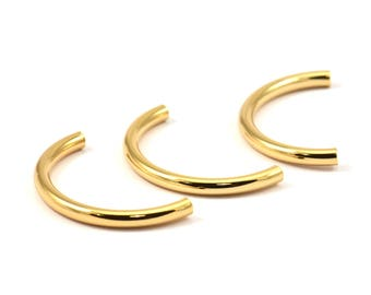 Gold Noodle Tubes - 5 Gold Plated Brass Semi Circle Curved Tube Beads (3x35mm) D263 q031