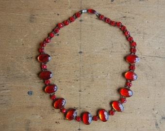 Antique Czechoslovakian glass and bead collar necklace ∙ 1910s Czech glass necklace