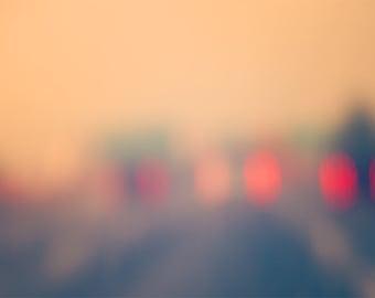 Travel Photography - dreamy - urban art print - street photograph - lights - bokeh - fog - blur - rain - road trip - pink - red - fPOE