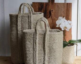 handmade jute rectangular basket,large crochet organizer,bathroom storage,home decor,raw,natural, rustic,boho,double organic jute twine bin