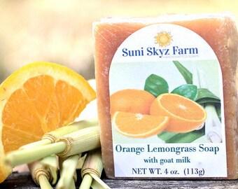 Orange and Lemongrass Soap - Orange and Lemongrass Goat Milk Soap - Orange Goat Milk Soap - Lemongrass Soap - Lemongrass and Orange Soap