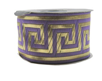 2 inches Ribbon Greek Key,Supply Ribbon, Greek Key trims, Lavender and Gold Greek Key