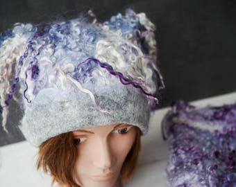 "Felted hat for women ""Evening cloud"" Hat with curls Unique wild handmade Felt cap"