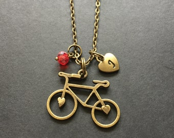 Personalized Bicycle Necklace, Initial and Birthstone Necklace, Bronze Bicycle, Sports Jewelry, Cycling, Bicycle Necklace, Bicycle Jewelry