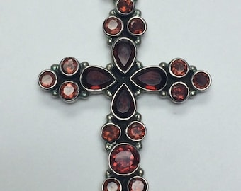 Victorian Gothic Blood Red Garnet Sterling Silver Cross Pendant 925