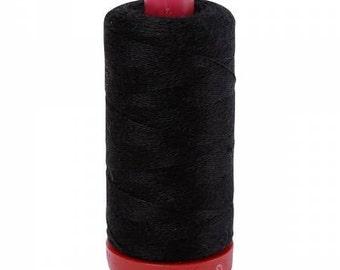Aurifil 12wt Wool Thread - Wool Lana Acrylic/Wool Embroidery & Quilting Thread 12 wt - 50% wool - Black 8692