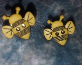 Bumble Bee Button Earrings