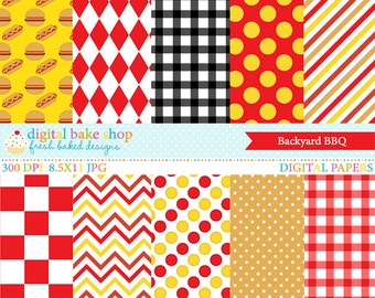 digital papers bbq backyard summer outside - Backyard BBQ Digital Papers