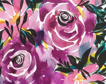 Purple roses watercolor floral painting 7x10in