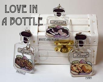 Love in a Bottle Key Chain