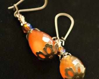 Boho Earrings, Rustic Orange Earrings, Genuine Brazilian Carnelian Earrings, Antiqued Brass and Gemstone Earrings, Carnelian Jewelry, SRAJD