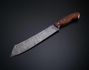 Custom Handmade Damascus Fixed Blade Machete Hunting Knife With Leather Sheath (Walnut Wood Handle)