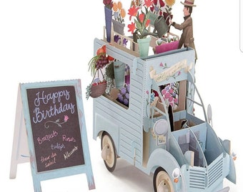 Flowers Truck, Happy Birthday, Congratulations, Flowers, happy holiday, gentleman,DIY, Gifts,3D Pop Up Paper Cutting Greeting Cards.