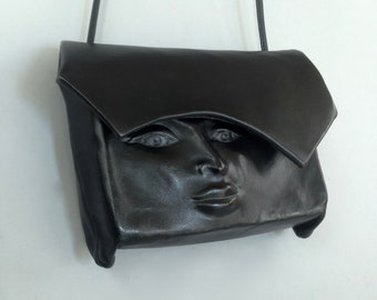 "Leather Purse ""Pursona"" Slide  Face Bag ""Second"", by Einbender Studios in Black"