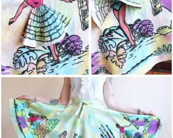 1950s Skirt // Peek-a-Boo Mexican Hand Painted Circle Skirt // vintage 50s skirt