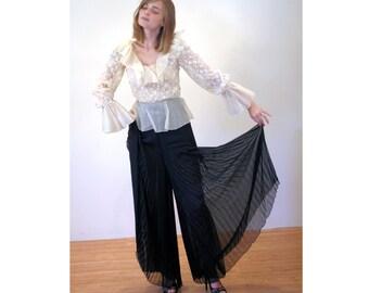 60s Oscar de la Renta Romper S, Silk Palazzo Pants Jumpsuit, Couture 1960s Jumpsuit, Black & White Lace, One Piece Designer Vintage Outfit