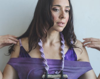 Bralette bamboo organic bra hand dyed boho style in purple .Great for yoga, beach, festivals, layering,& lounging from Simmer Clothing