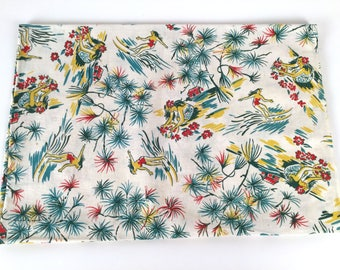 "Vintage 40s Fabric Yardage, Novelty Print Cotton, Hawaiian Surf Fabric, Hula Girl Cotton Fabric, Vintage Feed Sack, Cream Multi, 68""L  23"" W"