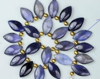 22 pieces smooth marquise iolite briolette beads 9 x 17 mm approx