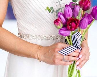 All the Way Around Rose Gold Belt with clasp-  Bridal Belt or Rose Gold Bridesmaids Belt - Rose Gold Embellished Wedding Belt - EYM B066
