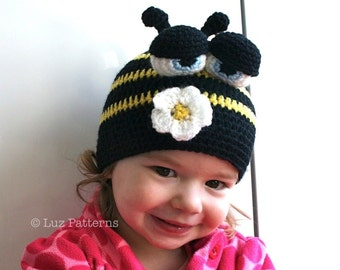 Crochet hat pattern, crochet baby busy bee hat pattern, crochet animal hat pattern (47) from newborn to adult, all sizes INSTANT DOWNLOAD