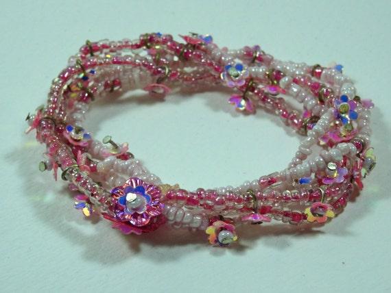 SJC10281 - Vintage Bracelet - elastic pink with flowers