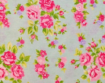 Rose Florals on Green Fabric
