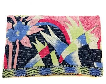 Kantha work handmade Quilt Indian Cotton Bedspread Bedding ,bed throw , twin bedding ,Saree Throw