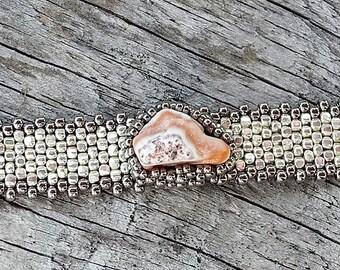 Free Form Peyote Stitch Beaded Bracelet - Bead Weaving - Lake Superior Agate Cabochon - Silver Galvanized  BOHO