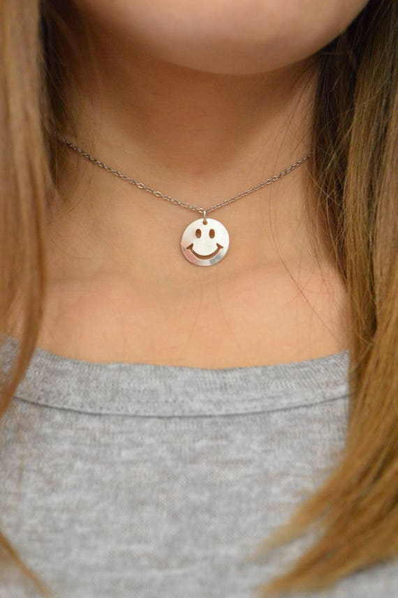 Emoji necklace, emoji, emoji charm, emoji face, smiley face, happy face, Silver Plated or Sterling Silver Necklace, Girlfriend Gift