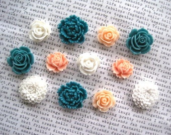 Pretty Magnets, Set 12 pc Flower Magnet Set, Teal, White and Peach, Refrigerator Magnets, Housewarming Gifts, Hostess Gifts, Wedding Favors