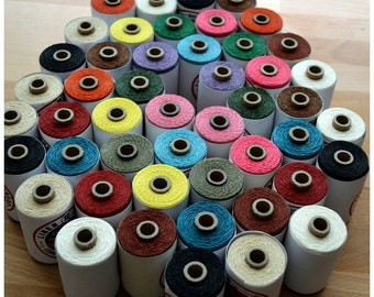50 m Book Binding Crawford's Irish Waxed linen Thread - Choose a 10 color set (50 meters / 54.68 yards)