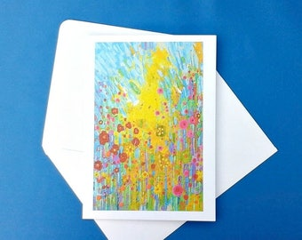 Abstract flower meadow art greeting card, blank card, write your own message, handmade stationery invitations and paper goods, any occasion