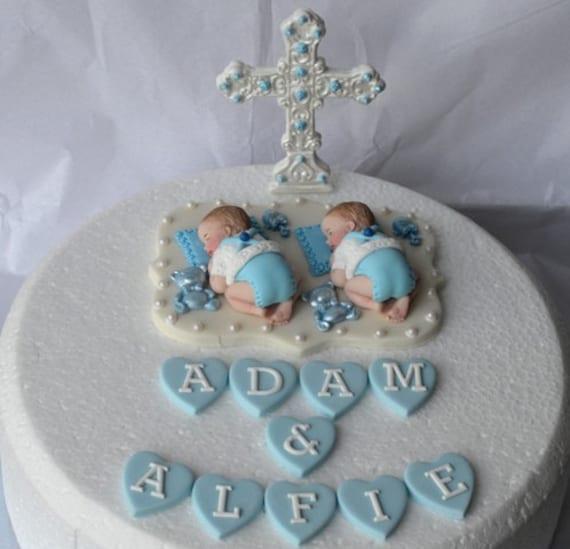Personalised edible twin baby boys Christening Baptism cake
